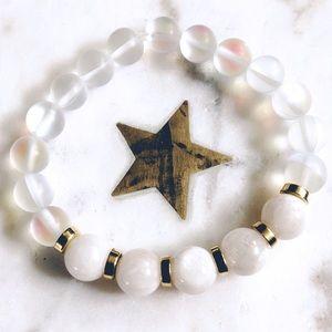 "Moonstone and Aura Quartz Mala Bracelet 6"""